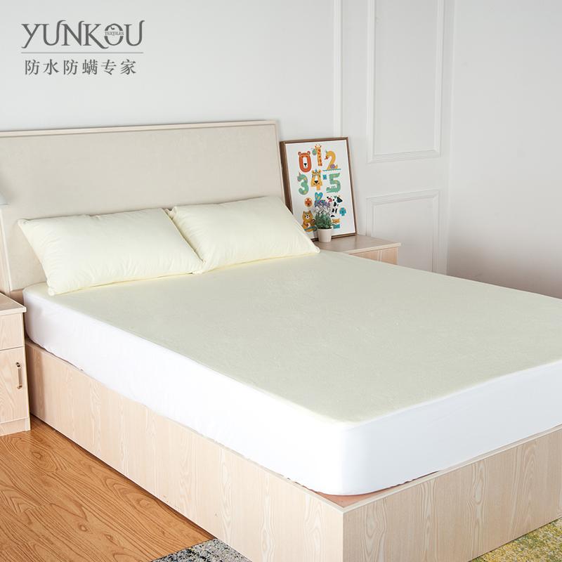 芸蔻 纯棉毛巾布床笠床包 防水防螨透气纯色床罩床垫套定制代加工