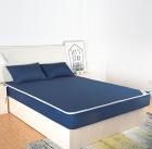 蓝色针织布床包