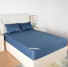 蓝色针织布防水床罩
